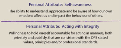 Personal Attribute: Self-awareness – The ability to understand, appreciate and be aware of how our own emotions affect us and impact the behaviour of others.